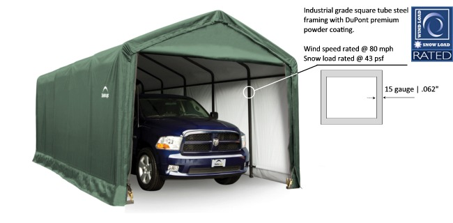 Temporary Shelters For Cars : Shelter logic shelters heavy duty temporary car