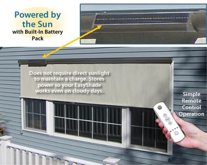 Solar Powered Shade Screens | Sunsetter EasyShade Vertical ...