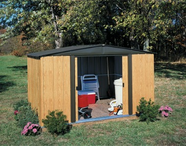 Arrow sheds in canada lawn and garden metal sheds for Abri de jardin acier galvanise imitation bois