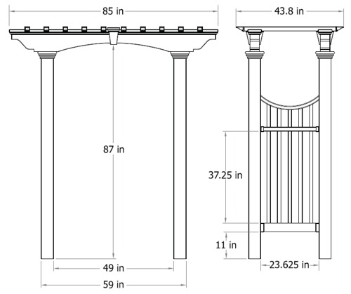 Devonshire Arbor wireframe dimensions